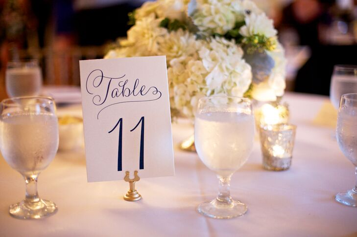 Elegant Navy and White Table Numbers