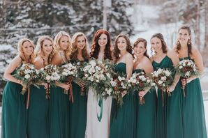 Bridesmaids Donning Green Dresses