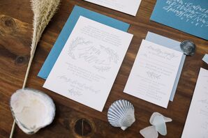 Light Blue and White Invitations with Leaf Detailing