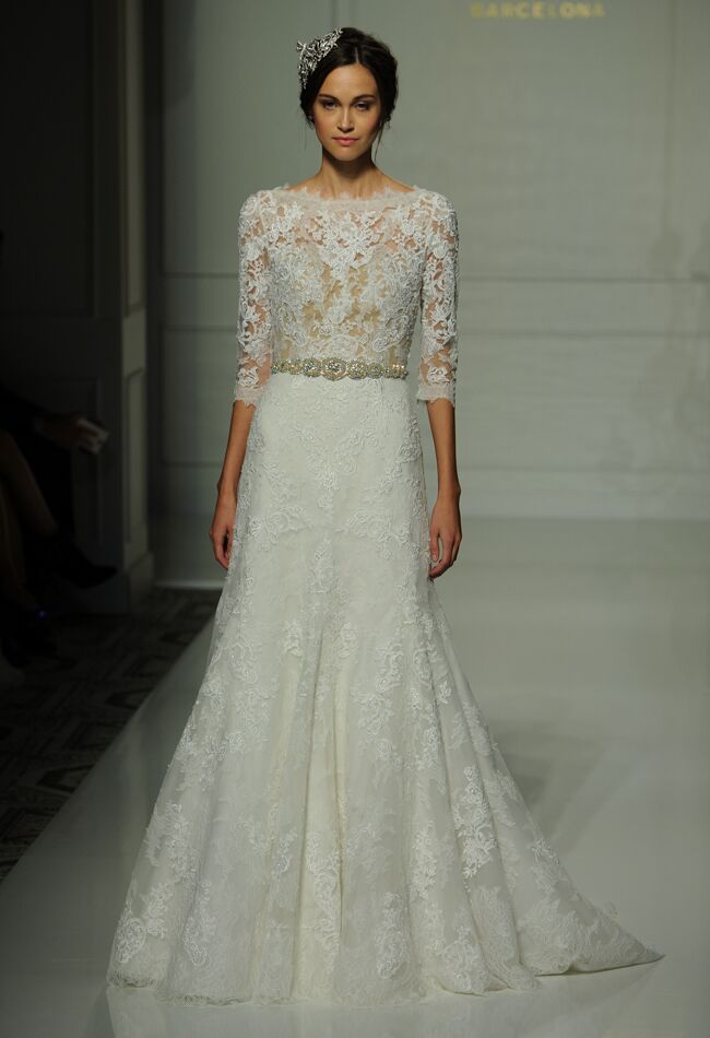 Ovias Wedding Dress With Sheer Illusion Bodice Lace Liques And Three Quarter Sleeves Fall