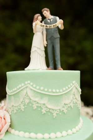 Mint Fondant Cake with Custom Cake Topper