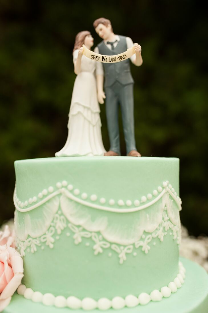 Mint Fondant Cake with Custom Cake Topper