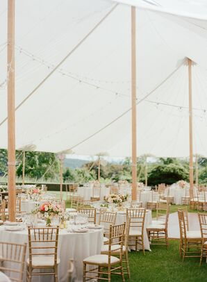 Elegant Tented Reception with Round Tables, White Linens and Gold Chiavari Chairs
