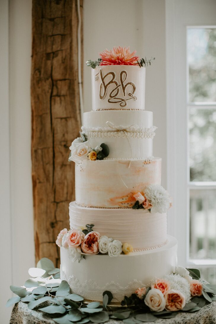 Round, Tiered Cake with Eclectic Layers and Designs