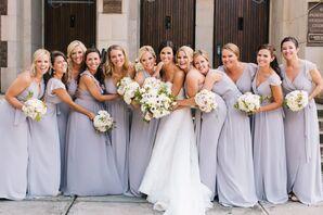 The nine bridesmaids wore lavender dresses from Bella Bridesmaids