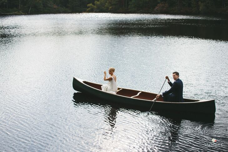 """""""I've seen so many brides go through this day, so for me to finally be the bride was interesting,"""" says Amy, who is a TV producer working on reality wedding shows. """"I think it led me to be more relaxed because I knew what to expect. And it made me willing to get in a canoe before the ceremony to get the perfect shots for our photographer. I know what it's like to want to get the right shot."""""""