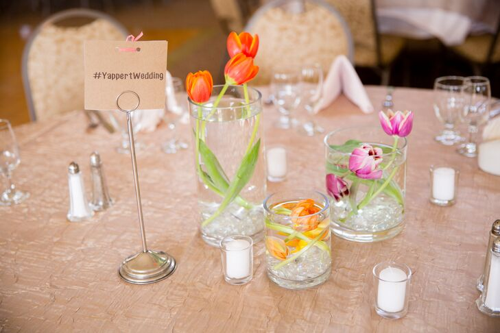 Champagne Reception Table Decorations With Tulip Centerpieces