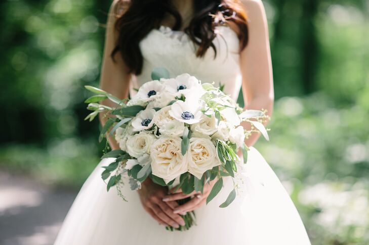 Ivory Anemone and Rose Bouquet