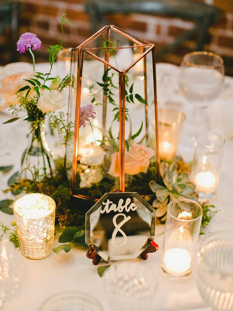 Romantic wedding centerpieces with candles simple wedding centerpiece with candles and succulents junglespirit Gallery