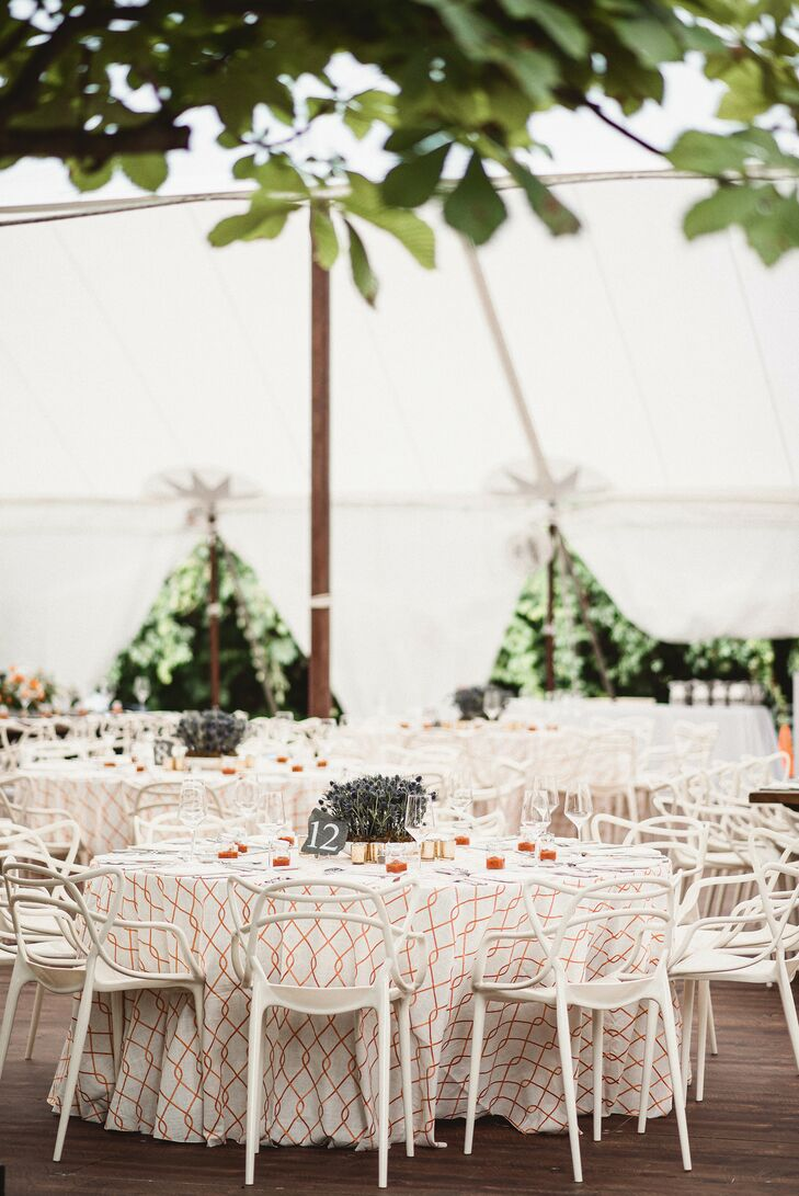 Tented Wedding Reception with Unique White Chairs