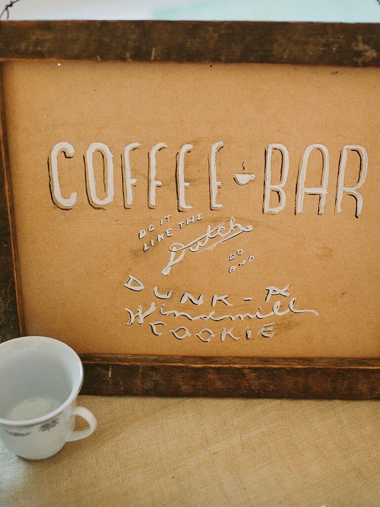 DIY coffee bar sign for a wedding reception