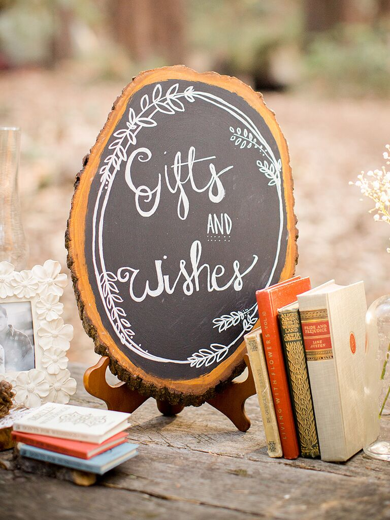 Rustic chalkboard wedding sign for gifts and cards
