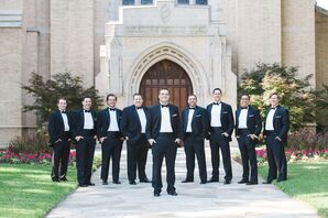 Classic Black-and-White Groomsmen Tuxedos