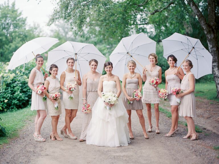 Spring wedding with umbrellas