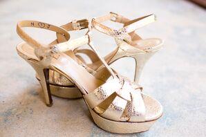 Gold Yves Saint Laurent Shoes