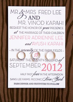 White, Red and Black Wedding Invitation