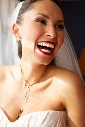 Bride Wears Sapphire Necklace