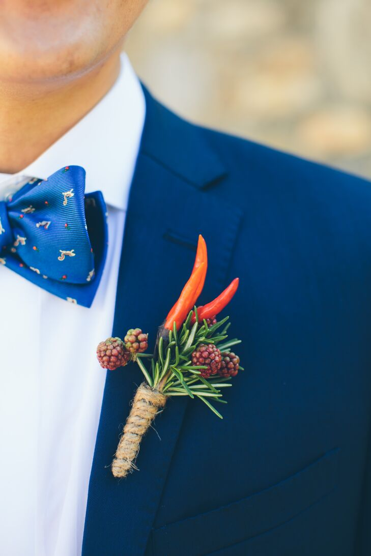 Fresh Raspberry and Chili Boutonniere