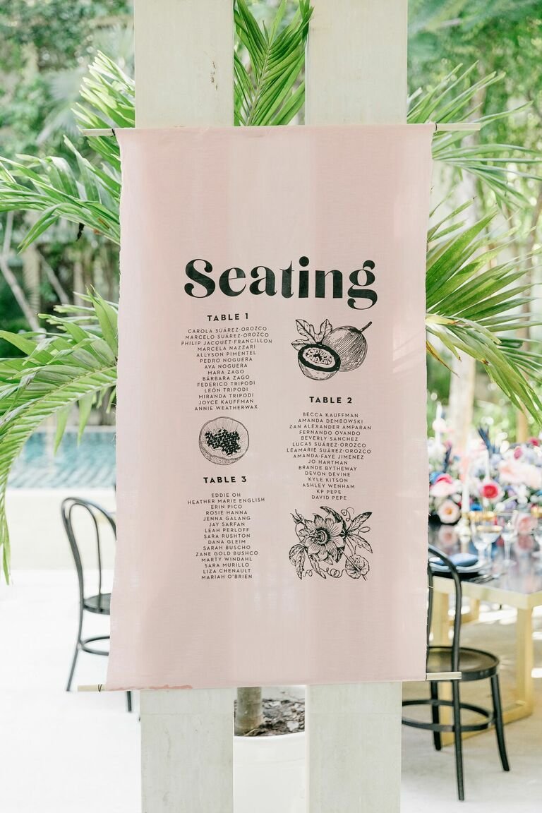 Linen seating chart with tropical illustrations