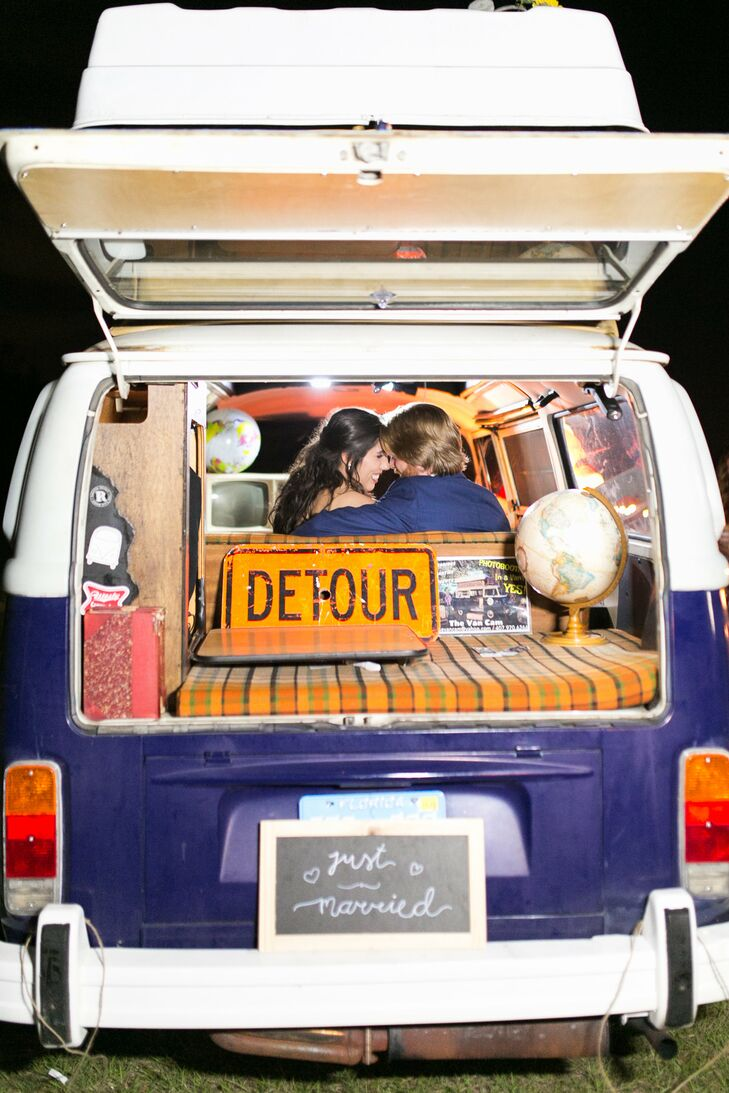 Bohemian Couple Exiting in Vintage Van