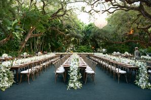 Romantic Outdoor Reception with Vintage Accents