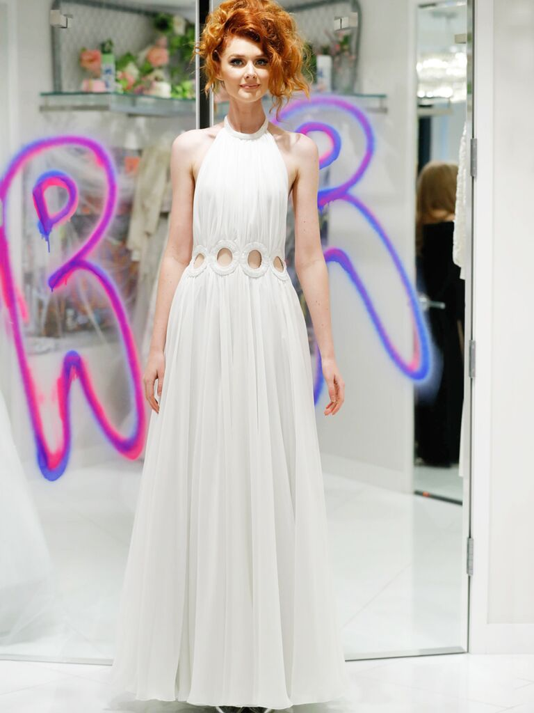 Randi Rahm Fall 2019 Bridal Fashion Week Collection halter-neckline A-line wedding dress with cut outs at the waist