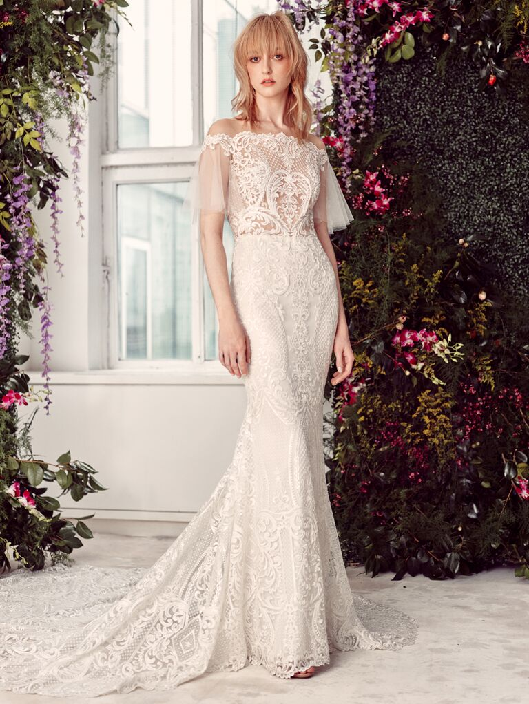 Rivini by Rita Vinieris Spring 2020 Bridal Collection off-the-shoulder lace wedding dress