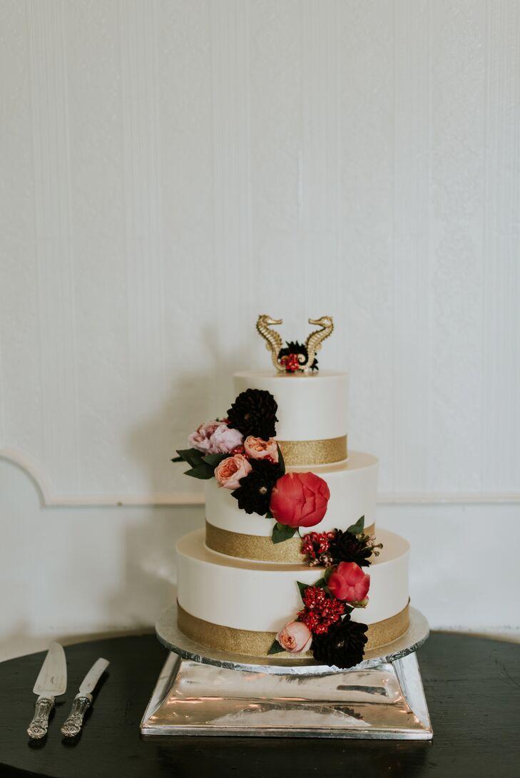 Gold Seahorse Nautical Cake Topper