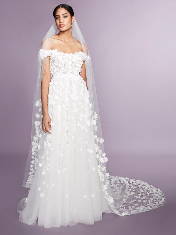Marchesa Notte off-the-shoulder 3-D floral wedding dress