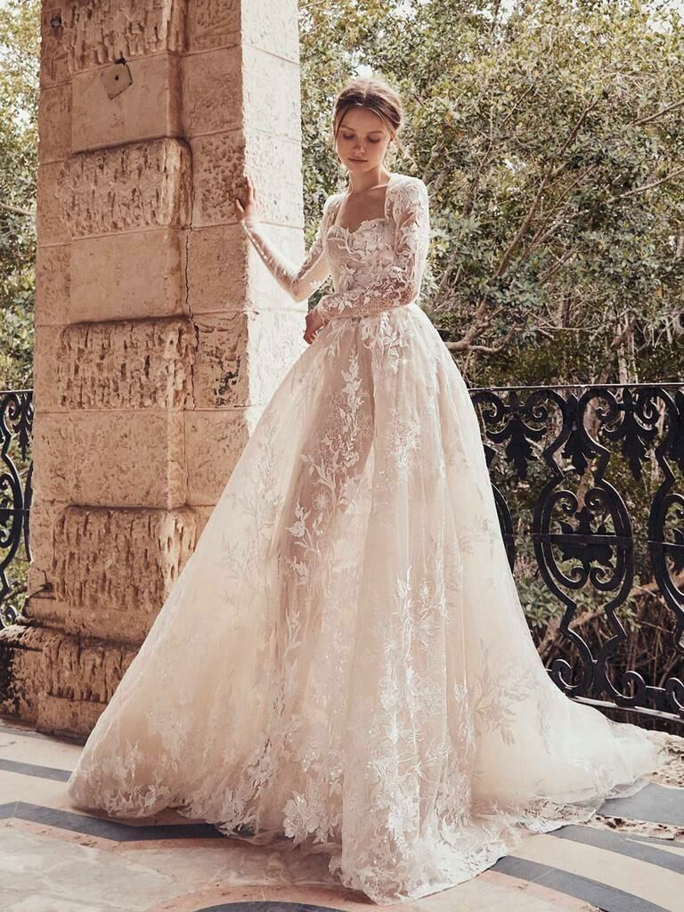Monique Lhuillier Spring 2020 Bridal Collection lace sheer wedding dress