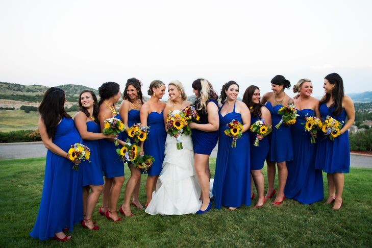 3eb3f1372ce4 The bridesmaids wore royal blue dresses of their choice with red heels and yellow  jewelry to