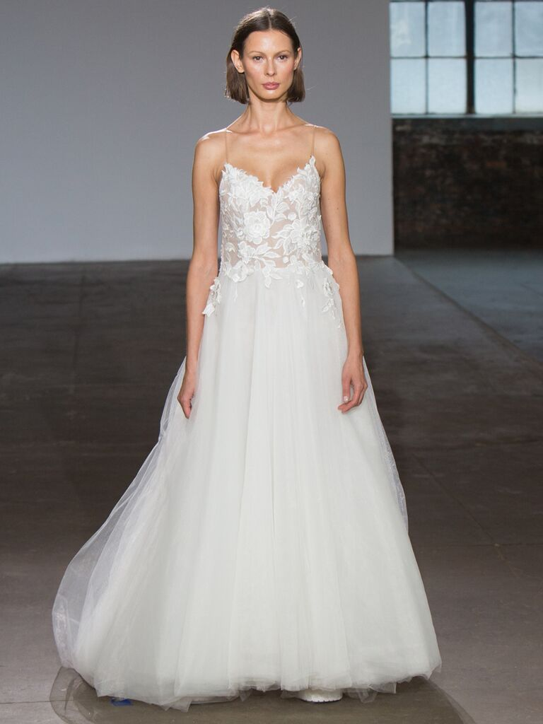 Adam Zohar Spring 2019 Collection tulle ball gown with floral embroidered bodice and spaghetti straps
