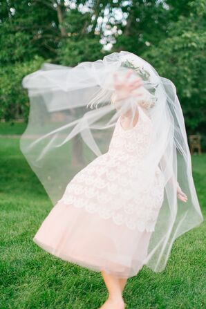 Blush Tulle, White Lace Flower Girl Dress