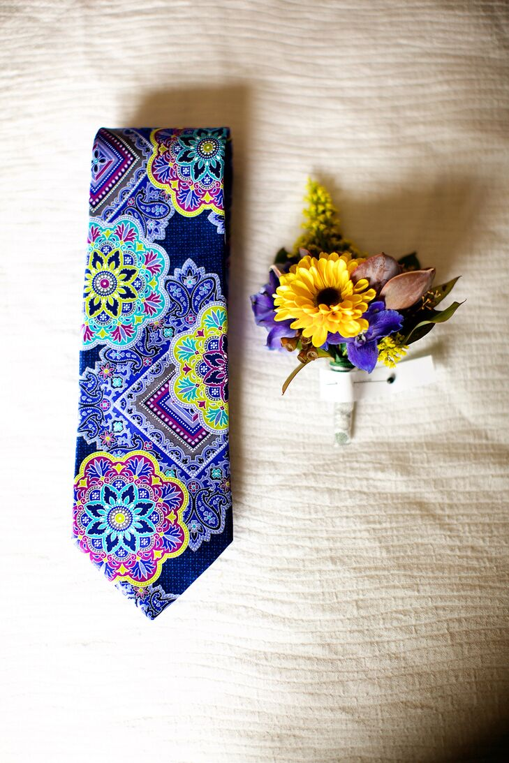 Bold, Vibrant Mandala-Patterned Groom's Tie