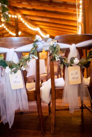 Rustic Tulle and Garland Sweetheart Chair Decor