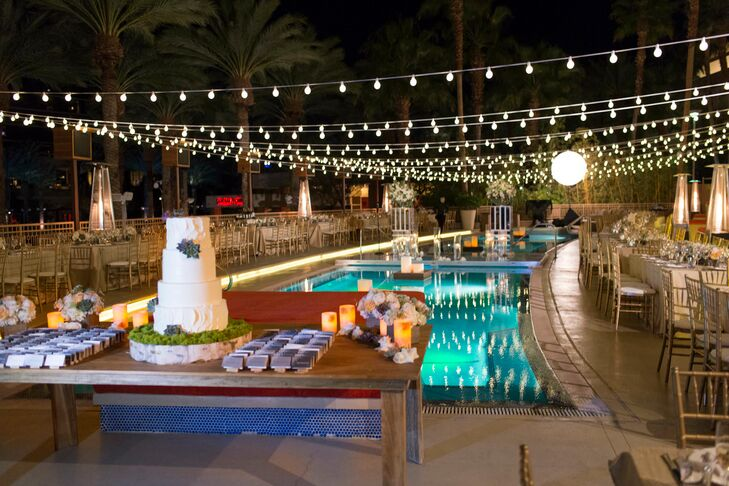 In addition to the delicious dinner catered by the hotel, there were activities for guests. Each escort card was affixed to a wine cork that guests later used to sign with a message to the grooms. There were also cabanas where a photo booth was set up.