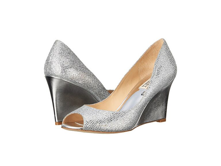 Badgley Mischka metallic gray wedding wedges