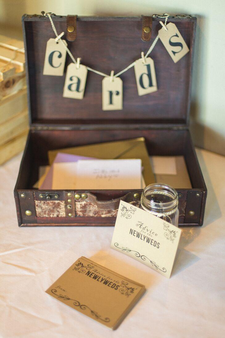 Vintage Wooden Box Card Holder