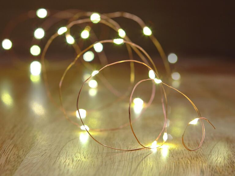 Rustic copper wire string lighting
