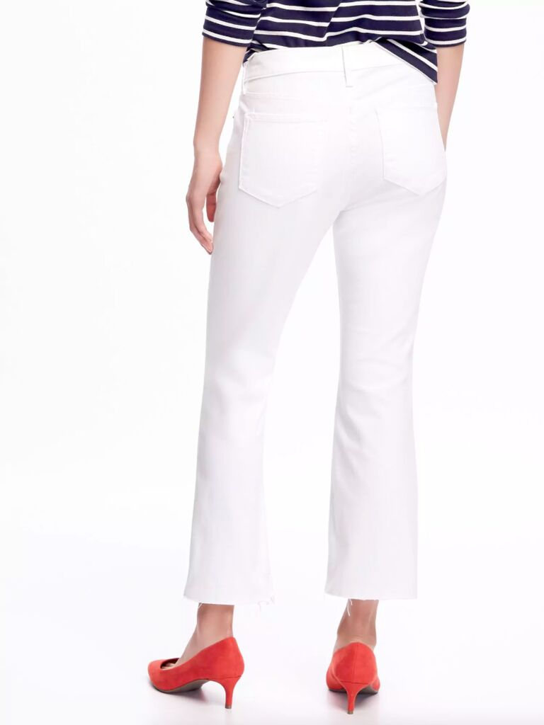 Old Navy Mid-Rise Stay-White Flare Ankle Jeans