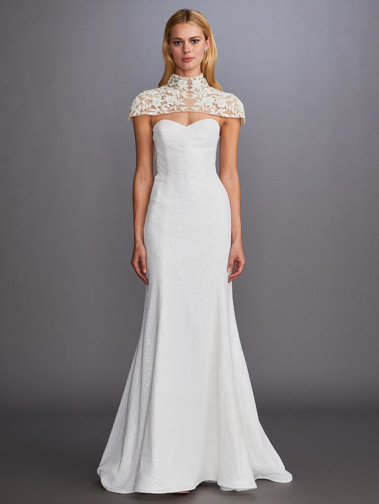 Allison Webb Fall 2019 Bridal Collection fit-and-flare wedding dress with cap-sleeve shoulder detailing