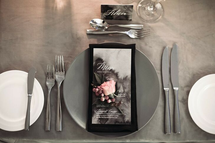 Modern Black, White and Gray Place Setting with Pink Rose Accent