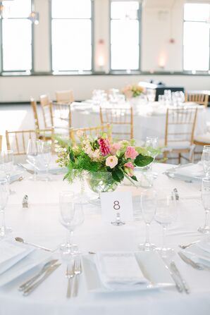 Simple White Tablescape with Low Pink and Green Centerpiece