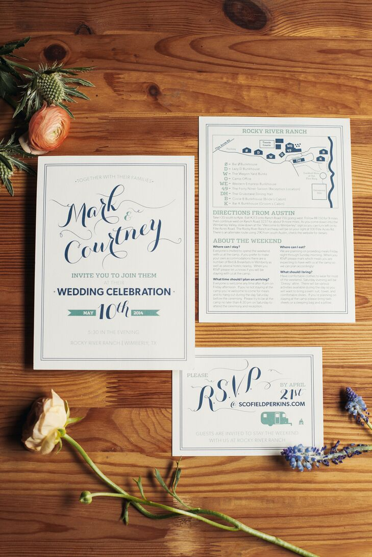 """Mark designed the wedding invitations, including a custom, camp-inspired """"M & C"""" logo, with green and blue designs, inspired by the natural style of Rocky River Ranch."""