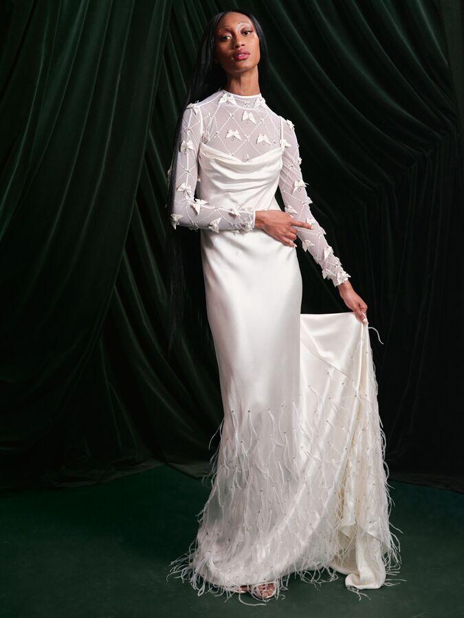 Wiederhoeft long bias feather embroidered wedding dress