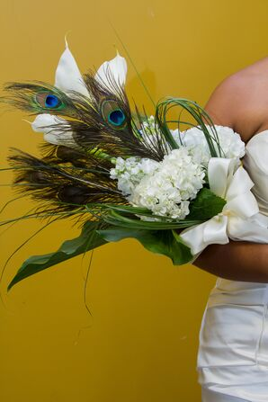 Tall Calla Lily and Peacock Feather Bridal Bouquet