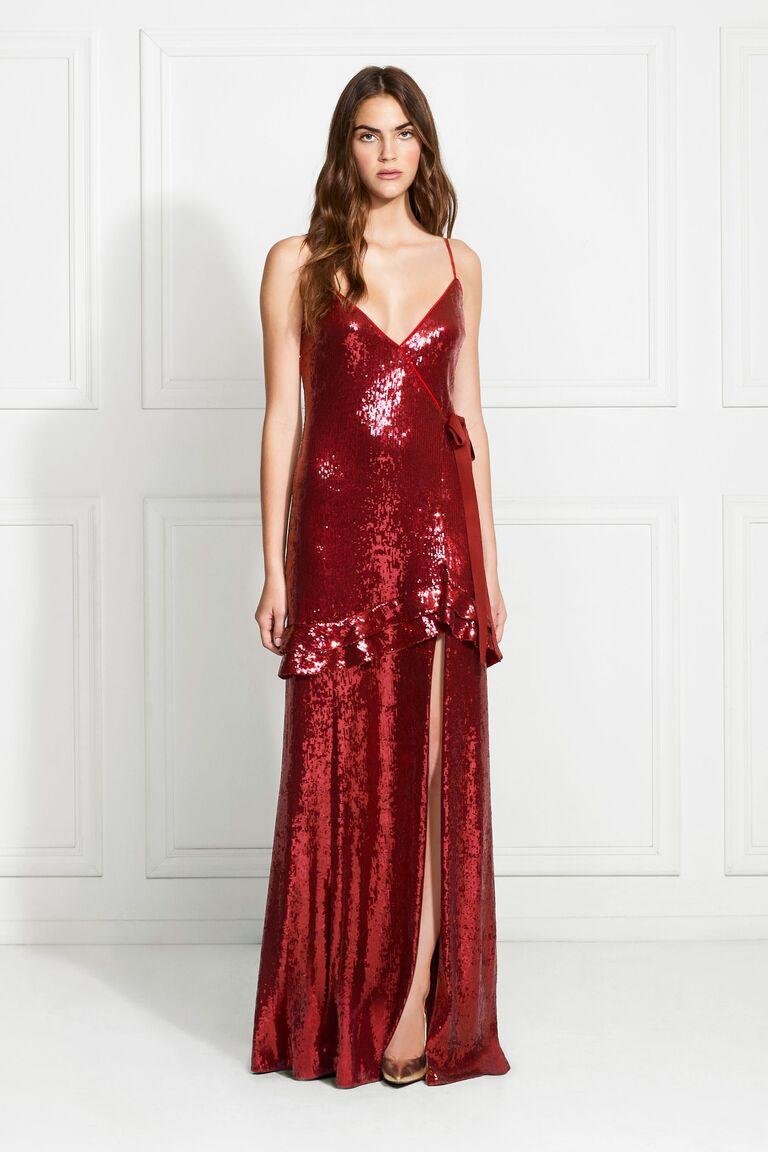 Rachel Zoe Walker sequined faux-wrap gown