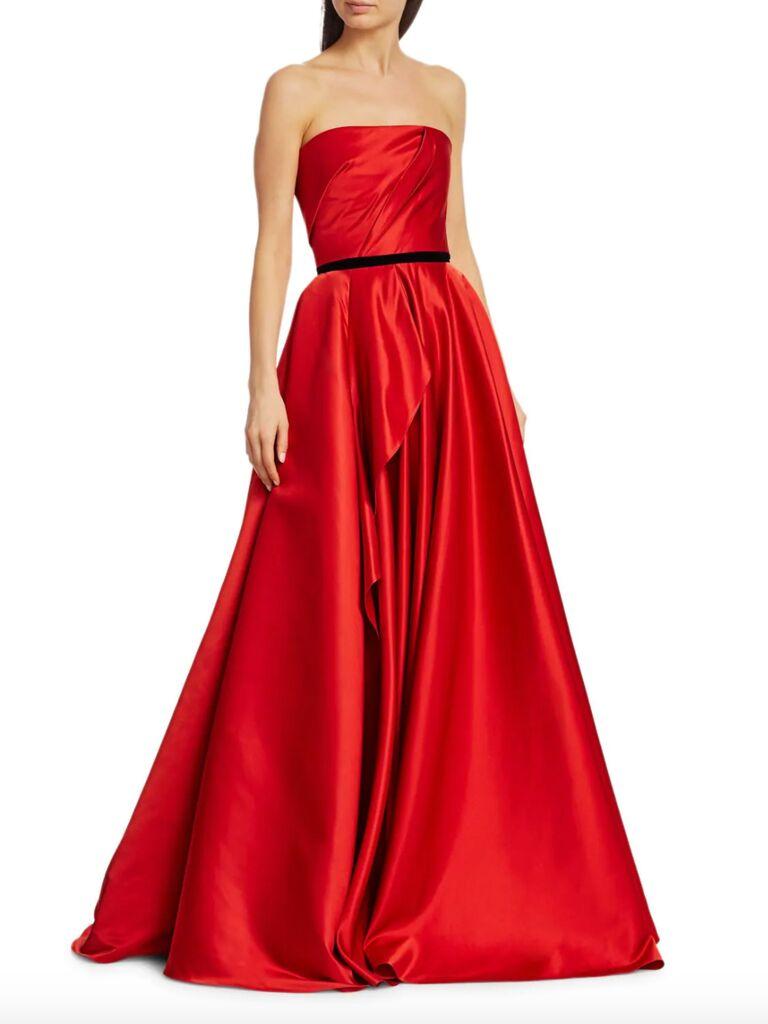 Marchesa Notte strapless satin ruffle ball gown