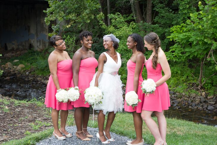 "The bridesmaids wore simple, strapless pink dresses from the Limited. ""Through the wedding-planning process, I wanted to make sure we weren't complicating things either in price or effort,"" Terri says. ""We found the dresses online, bought them on sale, and everyone had them altered as needed."""