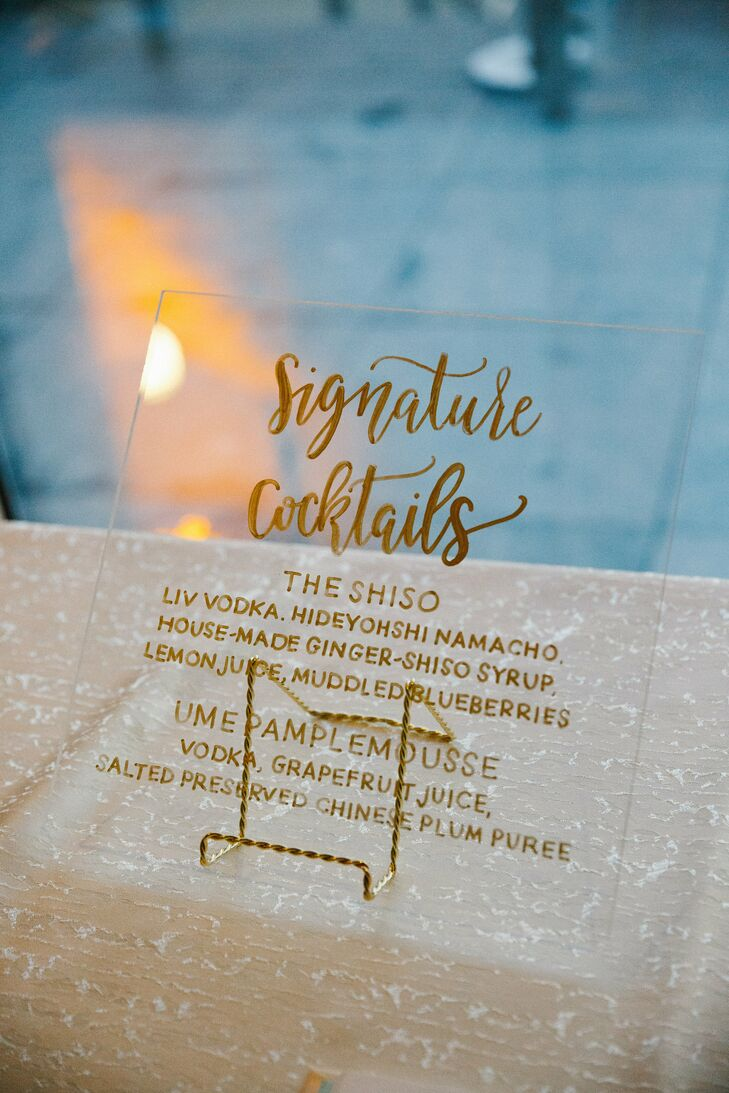 Glam Glass Hand-Lettered Cocktail Sign